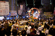 Lord Shiva and Parwati characters parade through crowd at Festival of Shivaratri in the holy city of Varanasi, Benares, Northern India