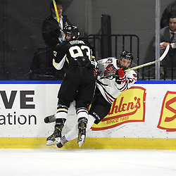 BUFFALO, NY - SEP 21,  2017: Ontario Junior Hockey League Governors Showcase game between the Trenton Golden Hawks and Milton Icehawks, Ryan Brown #93 of the Trenton Golden Hawks makes the hit on Chalmers McKeen #22 of the Milton Icehawks during the first period.<br /> (Photo by Andy Corneau / OJHL Images)