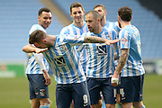 Coventry City Striker Adam Armstrong takes a bow after scoring during the Sky Bet League 1 match between Coventry City and Bury at the Ricoh Arena, Coventry, England on 13 February 2016. Photo by Dennis Goodwin.