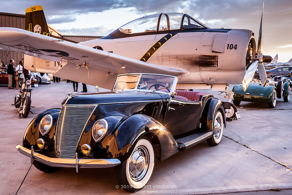 Ford Darrin and T-28, Allard in background, Planes and Cars at the Santa Fe Airport, 2013 Santa Fe Concorso.