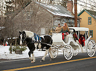 Sugar Loaf, N.Y. - A woman drives a horse-drawn carriage that was giving people rides during a holiday festival in the crafts village of Sugar Loaf  on Dec. 12, 2009.