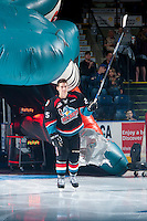 KELOWNA, CANADA - SEPTEMBER 24: Cal Foote #25 of the Kelowna Rockets enters the ice against the Kamloops Blazers on September 24, 2016 at Prospera Place in Kelowna, British Columbia, Canada.  (Photo by Marissa Baecker/Shoot the Breeze)  *** Local Caption *** Cal Foote;