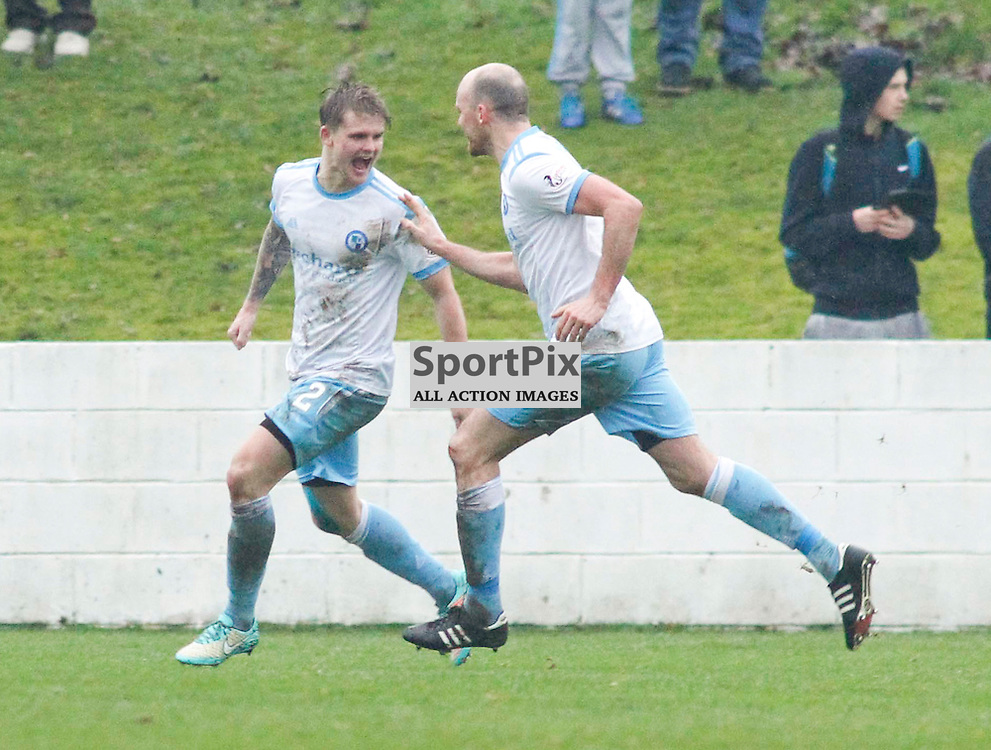 Michael Travis celebrates giving Forfar the lead <br /> During the William Hill Scottish Cup match at Prestonfield Linlithgow