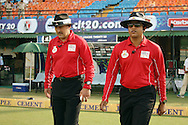 Vineet Kulkarni (India) and Richard Illingworth (England) walking out onto the field during the Qualifier 5 match of the Karbonn Smart Champions League T20 (CLT20) between Faisalabad Wolves and the Kandurata Maroons held at the Punjab Cricket Association Stadium, Mohali on the 20th September 2013. Photo by Jacques Rossouw/CLT20/SPORTZPICS<br /> <br /> <br /> Use of this image is subject to the terms and conditions as outlined by the CLT20. These terms can be found by following this link:<br /> <br /> http://sportzpics.photoshelter.com/image/I0000NmDchxxGVv4<br /> <br /> ENTER YOUR EMAIL ADDRESS TO DOWNLOAD
