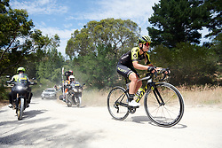 Georgia Williams (NZL) crosses the gravel sector on Stage 3 of 2020 Santos Women's Tour Down Under, a 109.1 km road race from Nairne to Stirling, Australia on January 18, 2020. Photo by Sean Robinson/velofocus.com