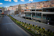 Montes Avenue and the church of San Francisco seen without the usual traffic. During elections period in  Bolivia, the country faces several restrictions, like no alcohol for sale 48 hours before and 12 after the election; no public gatherings, shows of any kind until the political parties made their speeches on the election night; its completely forbidden the circulation of any vehicles, private or governmental except with the permit from the Electoral Tribunal, which means it would be basically no cars, buses or anything circulating in the city; no long distance buses, the terminal will be close from Saturday until Monday and even flights will not be allowed except the ones leaving the country or the international ones doing stop-over. It is a completely shut down of the country.