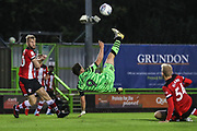 Forest Green Rovers Matty Stevens(9) attempts an overhead shot at goal  during the EFL Trophy match between Forest Green Rovers and U21 Southampton at the New Lawn, Forest Green, United Kingdom on 3 September 2019.