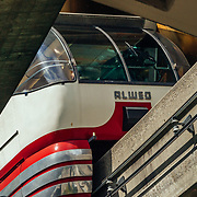 An abstract of the monorail near the Seattle Space Needle in Washington.