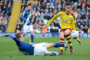 Birmingham City midfielder Maikel Kieftenbeld tackles Burnley midfielder David Jones during the Sky Bet Championship match between Birmingham City and Burnley at St Andrews, Birmingham, England on 16 April 2016. Photo by Alan Franklin.