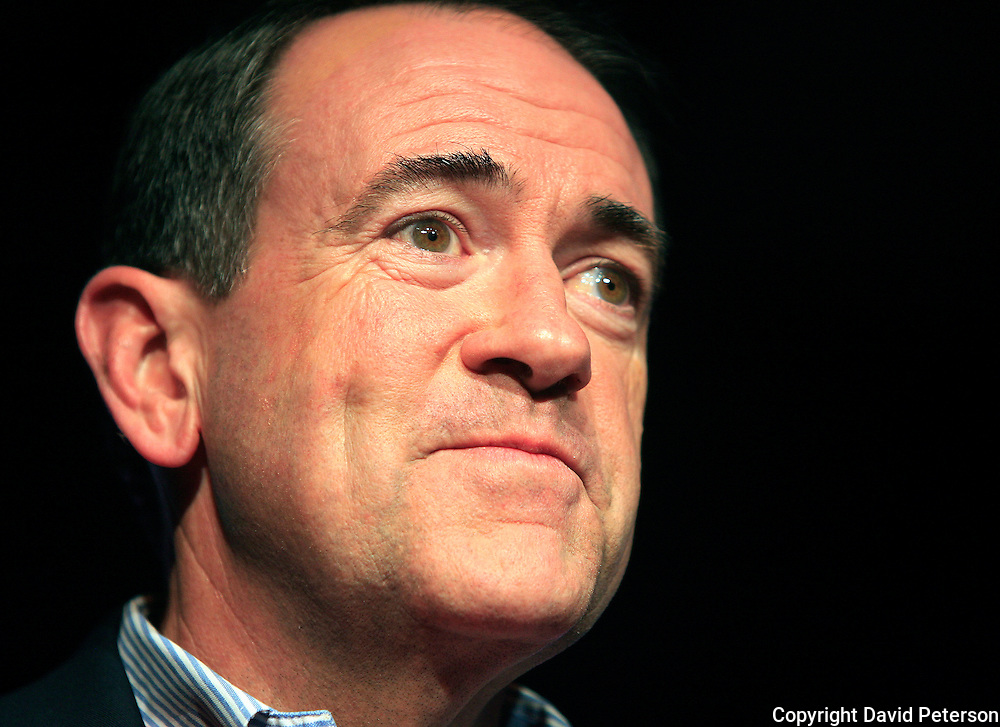 Presidential candidate Mike Huckabee made a New Year's day appearance at a pre-caucus rally in Des Moines Iowa in 2008.  Huckabee is fighting to keep his candidacy alive with the support of evangelicals and right wing members of the Republican party.