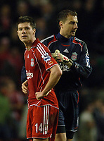 Photo: Paul Greenwood.<br />Liverpool v Arsenal. The FA Cup. 06/01/2007. Liverpool's Alonso and Dudek at the final whistle