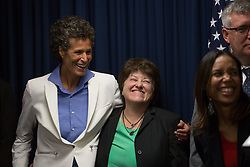 April 26, 2018 - Norristown, Pennsylvania, U.S - Bill Cosby victim ANDREA CONSTAND reacts as Montgomery County District Attorney Kevin Steele addresses the media following guilty verdicts on all three counts relating to Cosby's 2004 indecent assault of Constand. (Credit Image: © Michael Candelori via ZUMA Wire)