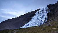 Dynjandi waterfall at dusk, West fiords of Iceland.