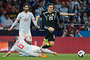 Giovani Lo Celso of Argentina and Andres Iniesta of Spain during the International friendly game football match between Spain and Argentina on march 27, 2018 at Wanda Metropolitano Stadium in Madrid, Spain - Photo Rudy / Spain ProSportsImages / DPPI / ProSportsImages / DPPI
