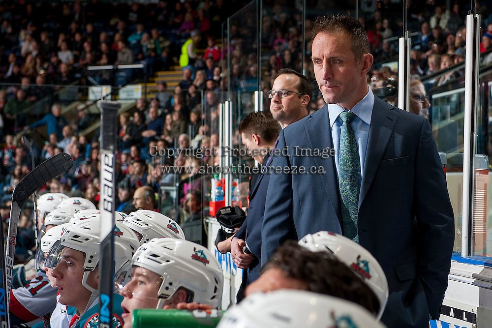 KELOWNA, CANADA - MARCH 4: Kelowna Rockets' head coach Jason Smith stands on the bench against the Tri-City Americans on March 4, 2017 at Prospera Place in Kelowna, British Columbia, Canada.  (Photo by Marissa Baecker/Shoot the Breeze)  *** Local Caption ***