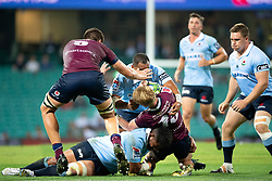March 9, 2019 - Sydney, NSW, U.S. - SYDNEY, NSW - MARCH 09: Reds player Isaac Lucas (15) hit in a big tackle at round 4 of Super Rugby between NSW Waratahs and Queensland Reds on March 09, 2019 at The Sydney Cricket Ground, NSW. (Photo by Speed Media/Icon Sportswire) (Credit Image: © Speed Media/Icon SMI via ZUMA Press)