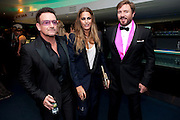 BONO; YASMINE LEBON; SIMON LEBON, GQ Men of the Year awards. The royal Opera House. Covent Garden. London. 6 September 2011. <br /> <br />  , -DO NOT ARCHIVE-© Copyright Photograph by Dafydd Jones. 248 Clapham Rd. London SW9 0PZ. Tel 0207 820 0771. www.dafjones.com.