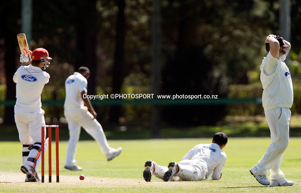 Reece Young for Canterbury servives a catch behind attempt by wicket keeper Joe Austin-Smellie off the bowling of Jeetan Patel. Canterbury Wizards v Wellington Firebirds, Plunket Shield Game held at Mainpower Oval, Rangiora, Wednesday 16 March 2011. Photo : Joseph Johnson / photosport.co.nz