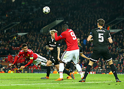 Chris Smalling of Manchester United heads the ball - Mandatory by-line: Robbie Stephenson/JMP - 13/03/2018 - FOOTBALL - Old Trafford - Manchester, England - Manchester United v Sevilla - UEFA Champions League Round of 16 2nd Leg