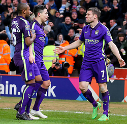 Manchester City's James Milner celebrates after scoring his sides second goal - Photo mandatory by-line: Matt McNulty/JMP - Mobile: 07966 386802 - 11/02/2015 - SPORT - Football - Stoke - Britannia Stadium - Stoke City v Manchester City - Barclays Premier League