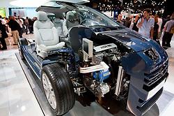 Cut away demonstration of Peugeot diesel Hybrid 3008 Paris Motor Show 2010