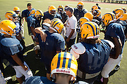 Milpitas High varsity football team runs through drills to prepare for Friday's game against Woodside (away) at Milpitas High School in Milpitas, Calif., on Aug. 28, 2012.  Photo by Stan Olszewski/SOSKIphoto.