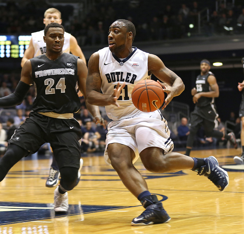 Butler's Roosevelt Jones moves toward the basket against Providence in the first half of the game at Hinkle Fieldhouse Tuesday January 6, 2015.
