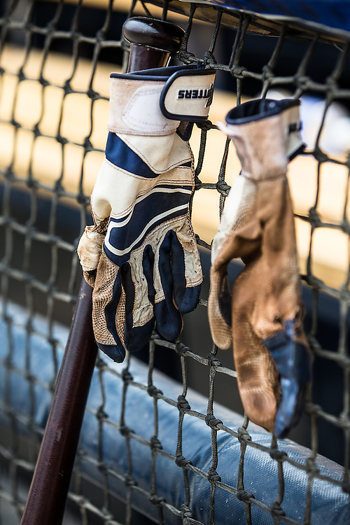 Hangin' batting gloves, 2016.