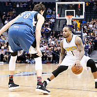 15 February 2017: Minnesota Timberwolves forward Nemanja Bjelica (88) defends on Denver Nuggets guard Jameer Nelson (1) during the Minnesota Timberwolves 112-99 victory over the Denver Nuggets, at the Pepsi Center, Denver, Colorado, USA.