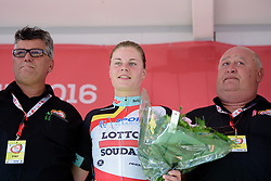 Lotte Kopecky (Lotto Soudal) retains the best placed Belgian jersey at the 121 km Stage 1 of the Lotto Belgium Tour 2016 on 7th September 2016 in Moorslede, Belgium. (Photo by Sean Robinson/Velofocus).