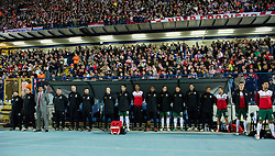 OSIJEK, CROATIA - Tuesday, October 16, 2012: Wales' manager Chris Coleman and his staff before the Brazil 2014 FIFA World Cup Qualifying Group A match against Croatia at the Stadion Gradski Vrt. (Pic by David Rawcliffe/Propaganda)