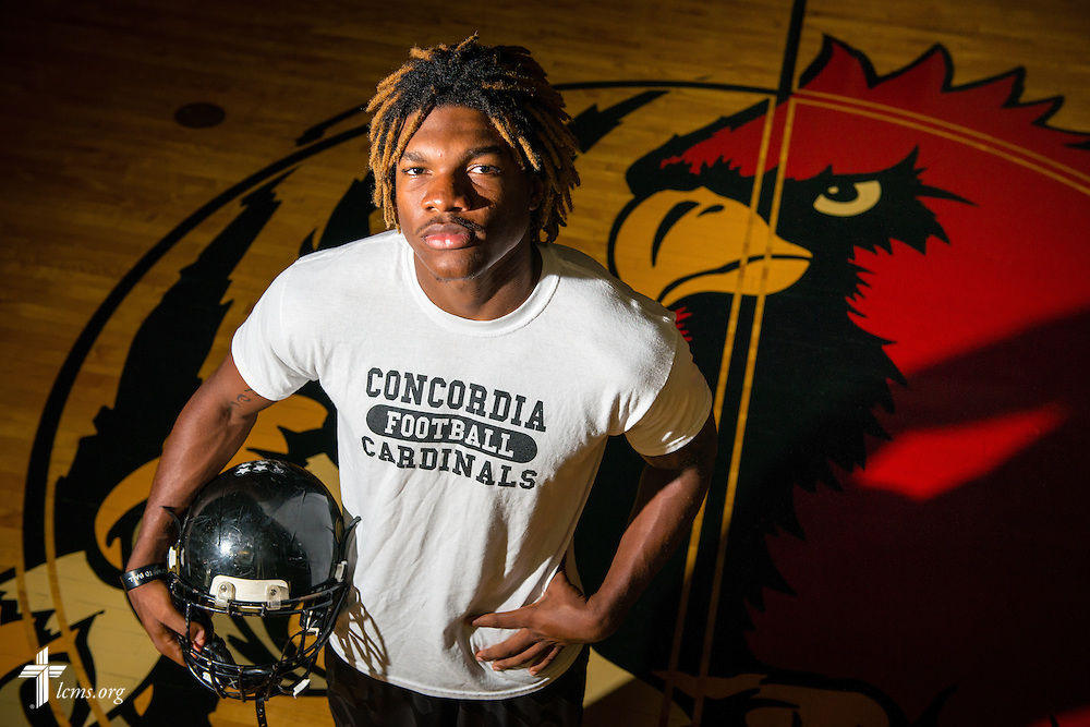 Portrait of Concordia football athlete Herman Mason in the gymnasium at Concordia University Ann Arbor on Thursday, July 3, 2014, in Ann Arbor, Mich. LCMS Communications/Erik M. Lunsford