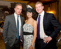 Doug Fagan, Navan, Jean Healy, Coolcarty and Johnny Fitzgerald, Ballysimon, Limerick at Hotel Meyrick on Ladies Day of the Galway Races, for a best dressed competition, sponsored by Brown Thomas Galway, hosted by RTE's  Republic of Telly Star Jennifer Maguire. Photo:Andrew Downes. Photo issued with Compliments, no reproduction fee on first publication.