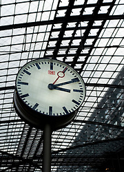 Clock at Berlin Hauptbahnhof railway station 2009