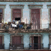 Laundry Drying on balcony of old building, Old Havana, Cuba. <br />