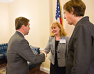 Rep. Chuck Fleischmann, left, talks with Dr. Julie Vose, MD, MBA, FASCO, President of ASCO, center, and Nancy E. Davidson, MD, President of American Association for Cancer Research, during the Hill Day reception held at Rayburn House Office Building in Washington, DC, on Wednesday, May 11, 2016. The American Association for Cancer Research (AACR), the Association of American Cancer Institutes (AACI), and the American Society of Clinical Oncology (ASCO) honored U.S. Representatives Kathy Castor (D-Fla.) and Chuck Fleischmann (R-Tenn.) for their outstanding leadership on behalf of cancer research during the reception. (Alan Lessig/)