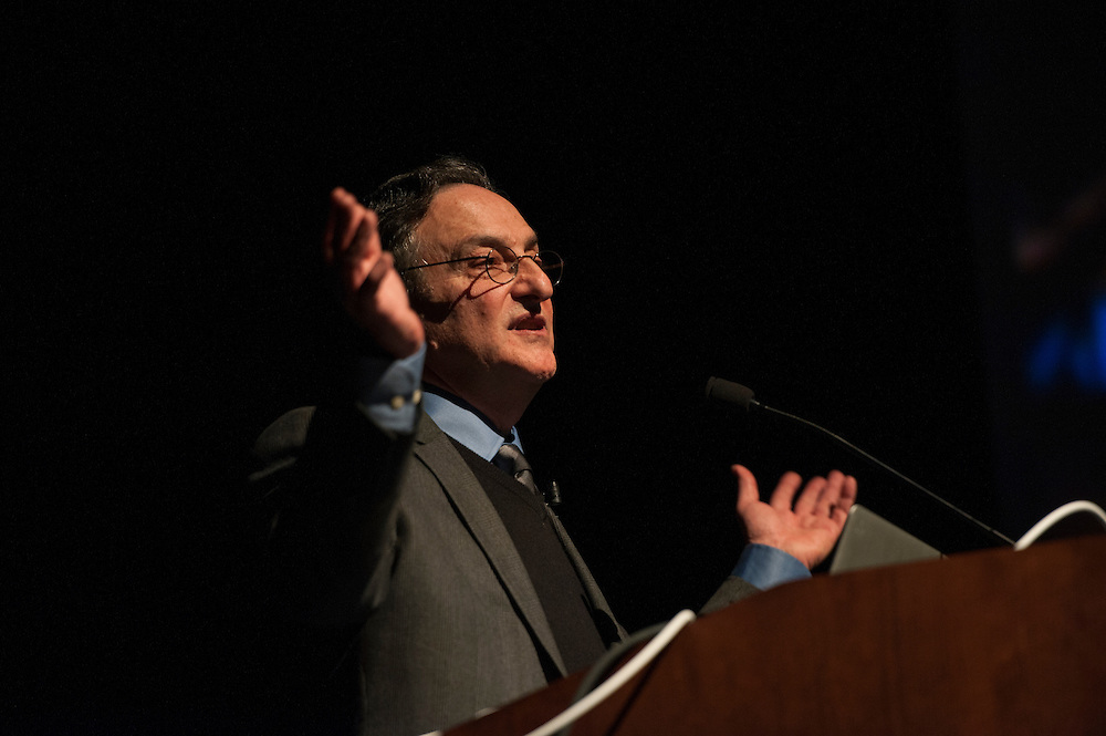 Ira Flatow, host of NPR's Science Friday, speaks in Templeton Blackburn Memorial Auditorium on Tuesday, February 3 as apart of the Kennedy Lecture Series. This was Flatow's first visit to Ohio University.