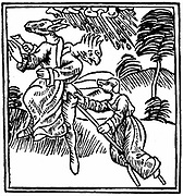 Witches turned into animals as they ride through the air on a stick. From Ulrich Militor  'De Laniis et phitonicis mulieribus', Constance, 1489. Woodcut.