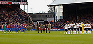Picture by David Horn/Focus Images Ltd +44 7545 970036<br /> 09/11/2013<br /> Crystal Palace and Everton teams respect a minute's silence to commemorate Remembrance Day before the Barclays Premier League match at Selhurst Park, London.