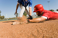 Runner and infielder reaching base