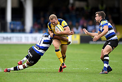 Anthony Watson of Bath Rugby tackles Perry Humphreys of Worcester Warriors  - Mandatory by-line: Joe Meredith/JMP - 17/09/2016 - RUGBY - Recreation Ground - Bath, England - Bath Rugby v Worcester Warriors - Aviva Premiership