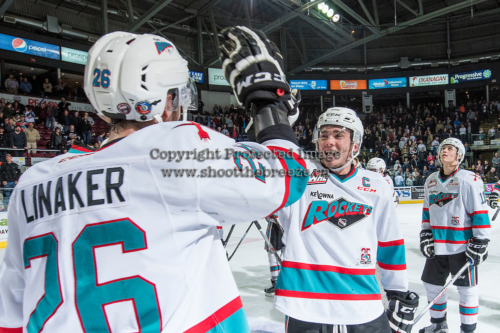 KELOWNA, CANADA - APRIL 4: Cole Linaker #26 and Rodney Southam #17 of Kelowna Rockets celebrate the round 1, game 7 WHL playoff win against the Kamloops Blazers on April 4, 2016 at Prospera Place in Kelowna, British Columbia, Canada.  (Photo by Marissa Baecker/Shoot the Breeze)  *** Local Caption *** Cole Linaker; Rodney Southam;