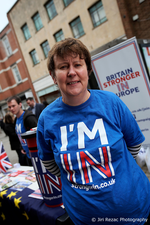 UK ENGLAND CANTERBURY 14MAY16 - Sarah Perrin, a volunteer for the Vote Remain campaign poses for a photo at their stall in Canterbury High Street.<br /> <br /> jre/Photo by Jiri Rezac<br /> <br /> &copy; Jiri Rezac 2016