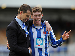 Hartlepool United Manager, Colin Cooper speaks with Hartlepool United's Luke James after the game - Photo mandatory by-line: Dougie Allward/JMP - Mobile: 07966 386802 15/03/2014 - SPORT - FOOTBALL - Hartlepool - Victoria Park - Hartlepool United v Bristol Rovers - Sky Bet League Two