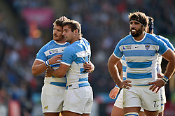 Julian Montoya of Argentina is congratulated on his try by team-mate Santiago Cordero - Mandatory byline: Patrick Khachfe/JMP - 07966 386802 - 04/10/2015 - RUGBY UNION - Leicester City Stadium - Leicester, England - Argentina v Tonga - Rugby World Cup 2015 Pool C.