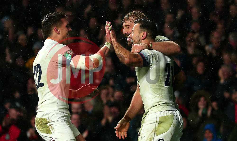 Danny Care of England celebrates with teammates after scoring a try - Mandatory by-line: Robbie Stephenson/JMP - 18/11/2017 - RUGBY - Twickenham Stadium - London, England - England v Australia - Old Mutual Wealth Series