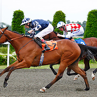 Athenian and Luke Morris winning the 7.50 race