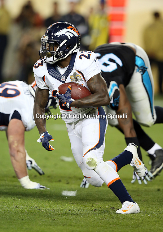Denver Broncos running back Ronnie Hillman (23) runs the ball on a third down play with 13 yards to go for a first down in the third quarter during the NFL Super Bowl 50 football game against the Carolina Panthers on Sunday, Feb. 7, 2016 in Santa Clara, Calif. The Broncos won the game 24-10. (©Paul Anthony Spinelli)
