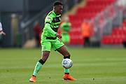 Forest Green Rovers Tahvon Campbell(14) on the ball during the EFL Sky Bet League 2 match between Exeter City and Forest Green Rovers at St James' Park, Exeter, England on 27 October 2018.