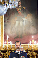 King Felipe VI of Spain attends a military audiences at Palacio Real on March 23, 2017 in Madrid.<br /> King Felipe of Spain holds minute's silence for London terror attack victims.